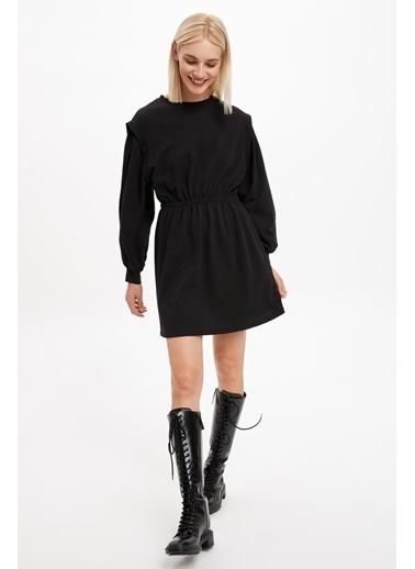 DeFacto Vatkalı Omuz Detaylı Örme Elbise Siyah